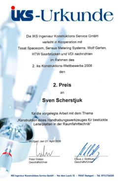 iks Konstruktionswettbewerb Urkunde Sven Scherstjuk Orgeda GmbH Wolfschlugen Stuttgart