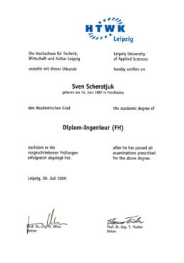 Urkunde Diplom-Ingenieur Sven Scherstjuk Orgeda GmbH Wolfschlugen Stuttgart