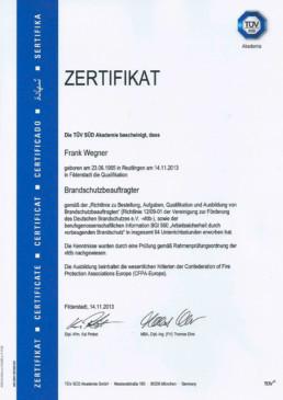 Zertifikat Brandschutzbeauftragter Orgeda GmbH Wolfschlugen Stuttgart