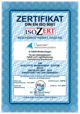 DIN EN ISO 9001 Zertifikat Orgeda GmbH Wolfschlugen Stuttgart