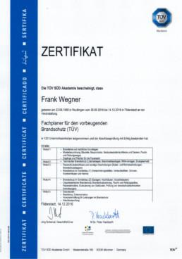 Zertifikat Fachplaner Vorbeugender Brandschutz Orgeda GmbH Wolfschlugen Stuttgart