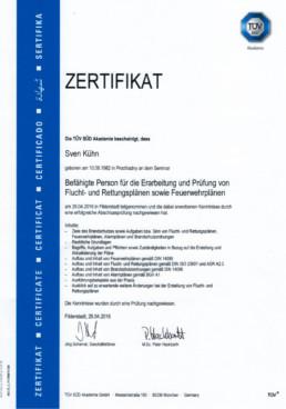 Zertifikat Flucht- & Rettungsplan Orgeda GmbH Wolfschlugen Stuttgart