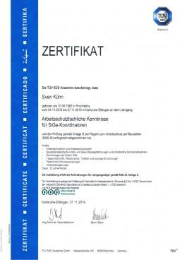Zertifikat Arbeitsfachliche Kenntnisse für SiGe-Koordinatoren Orgeda GmbH Wolfschlugen Stuttgart