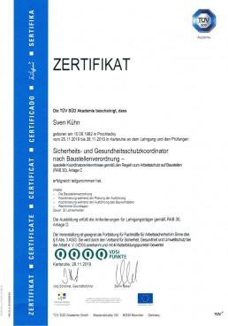 Zertifikat SiGeKo nach BaustellV Orgeda GmbH Wolfschlugen Stuttgart